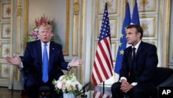 Perezida wa Amerika Donald Trump na Emmanuel Macron w'Ubufaransa