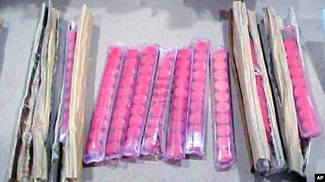 FILE - U.S. Customs handout photo of confiscated drug ya ba, which was discovered in a shipment of chopsticks, Sacramento, California.