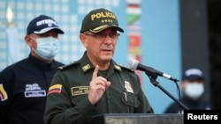 FILE - Colombia's national police director, Gen. Jorge Luis Vargas, speaks during a news conference in Bogota, Colombia, July 15, 2021.