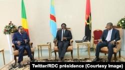 Denis Sassou Nguesso, président du Congo-Brazzaville, à gauche, Joao Manuel Gonçalves Lourenço de l'Angola, à droite, et Joseph Kabila, de la RDC, lors d'une tripartite à Kinshasa, RDC, 14 février 2018. (Twitter/RDC présidence)