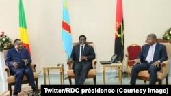 Denis Sassou Nguesso, président du Congo-Brazzaville, Joseph Kabila, de la RDC et Joao Manuel Gonçalves Lourenço de l'Angola lors d'une tripartite à Kinshasa, RDC, le 14 février 2018. (Twitter/RDC présidence)