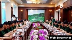 Quân khu 7 làm việc với tỉnh Long An về công tác chuẩn bị cho diễn tập cứu hộ, cứu nạn biên giới đất liền Việt Nam - Campuchia. Photo Long An Online.