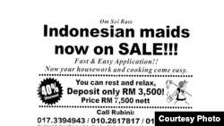 Pemerintah Indonesia dan penggiat perlindungan buruh migran memprotes selebaran obral TKI di Malaysia karena dinilai sebagai bentuk perdagangan manusia dan melecehkan martabat bangsa Indonesia (Foto: Migrant Care/Anis Hidayah)