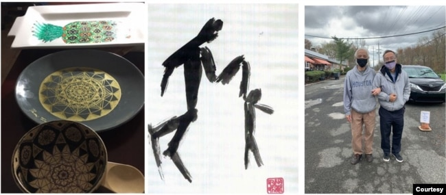 """Trái, các trang trí trên đĩa xứ của Trần Qúi Thoại, vẽ tặng cha; giữa, tranh của Trần Qúi Thoại vẽ cảnh """"Con Vịn Cha""""; phải, bức hình mới nhất, nay thì cảnh """"Cha Vịn Con""""."""