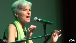 FILE - Jill Stein, the Green Party's presidential nominee, speaks to supporters at a post-convention party in Houston. (G. Flakus/VOA)
