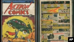 Image provided by Metropolis Collectibles/ComicConnect, Corp., shows the front and back cover of 'Action Comics No. 1' from 1938, featuring the debut of Superman.