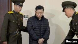 Le pasteur Hyeon Soo Lim lors de son procès à Pyongyang, le 16 décembre 2015.