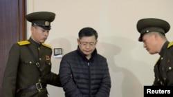 Patè Hyeon Soo Lim pandan yo tap jije li nan Pyongyang, 16 desanm 2015.