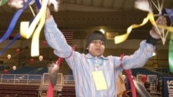 A Navajo boy performs a tribal dance at Ganado High School in Arizona