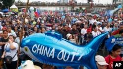 菲律賓民眾在馬尼拉抗議中國在南中國海的行徑。(2019年7月22日)