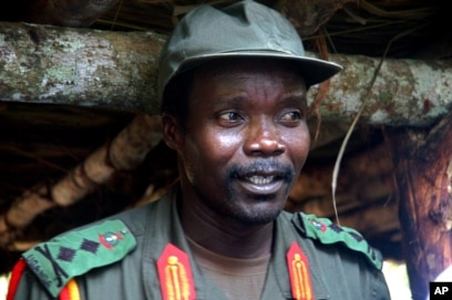 FILE - Joseph Kony, leader of the Lord's Resistance Army during a meeting with a delegation of officials and lawmakers from northern Uganda and representatives of NGOs, July 31, 2006, Congo near the Sudan border.
