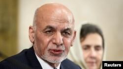 Afghan President Ashraf Ghani speaks during a U.N. conference on Afghanistan, Nov. 28, 2018, at U.N. offices in Geneva, Switzerland.