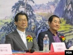 民進黨籍立委李應元( 左 ) 和陳唐山(美國之音容易拍攝)