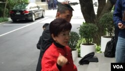 台湾立法院副院长洪秀柱将启程前往中国,展开登陆辅选行程。(美国之音李逸华拍摄)