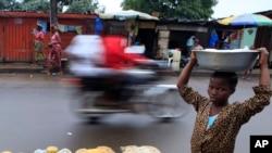 Rue de Monrovia au Liberia le 14 octobre 2011.