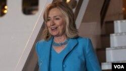 Menlu AS Hillary Rodham Clinton saat tiba di Athena, Yunani (16/7).