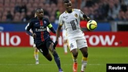 Le joueur Camerounais Ibrahim Amadou, lors d'un match au Parc des princes, à Paris, le 13 février 2016.