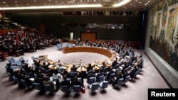 FILE - The U.N. Security Council is seen in session at U.N. headquarters in New York.