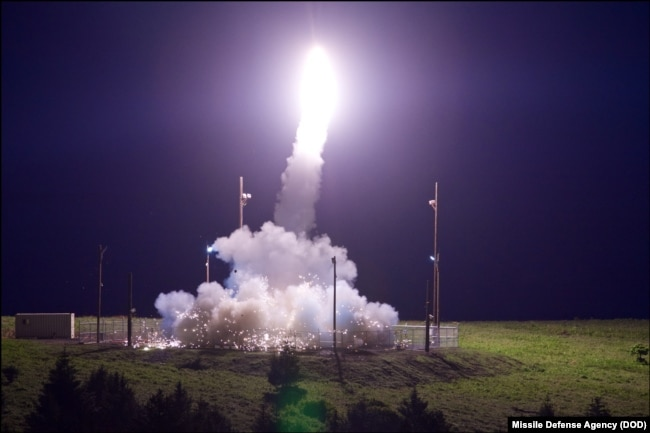 FILE - A Terminal High Altitude Area Defense (THAAD) interceptor is launched from the Pacific Spaceport Complex Alaska in Kodiak, Alaska, during Flight Test THAAD (FTT)-18, July 11, 2017.