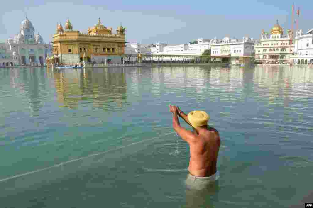 An Indian Sikh devotee gets in the holy sarover (water tank) at the Golden Temple in Amritsar.