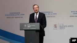 美國貿易代表萊特希澤星期一世貿組織(WTO)布宜諾斯艾利斯部長會議上講話