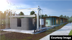 An artist's image simulates a production that could be set up to use 3D printing technology to build inexpensive homes. (ICON/New Story)