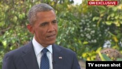 Screen shot of CNN interview with U.S. President Barack Obama, Jan 28, 2015.