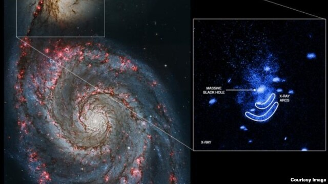 Spiral galaxy NGC 5195 is seen along with the X-ray arcs Schlegel's team identified