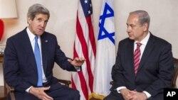 9일 예루살렘에서 가진 회담에 앞서 공동기자회견 중인 베냐민 네타냐후 이스라엘 총리(오른쪽)와 존 케리 미국 국무장관.
