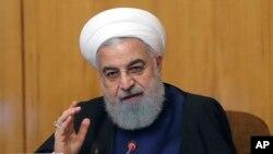 Rais wa Iran, Hassan Rouhani. Mei 8, 2019.