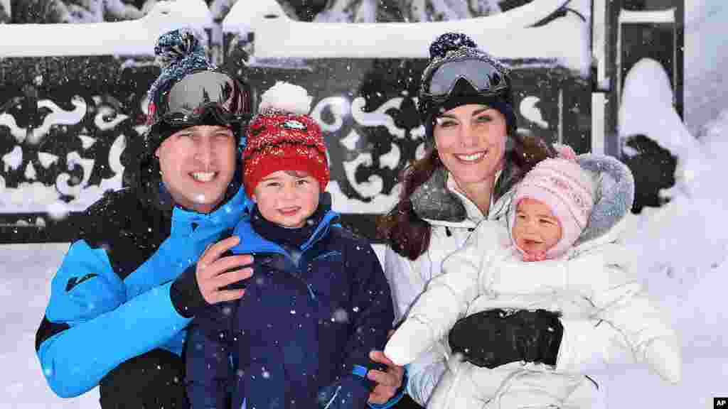 Britain's Prince William and Duchess of Cambridge with their children, Princess Charlotte, right, and Prince George, enjoy a short private break skiing in the French Alps, March 3, 2016.