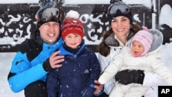 Britain's Prince William and Duchess of Cambridge with their children in the French Alps, March 3, 2016.