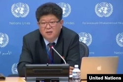 Kim Yong Ho, the North Korean Foreign Ministry's director of the division of human rights and humanitarian issues during a press briefing at the U.N., Nov. 15, 2016.