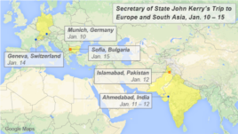 John Kerry's travels to Europe and South Asia, Jan. 10 – 15