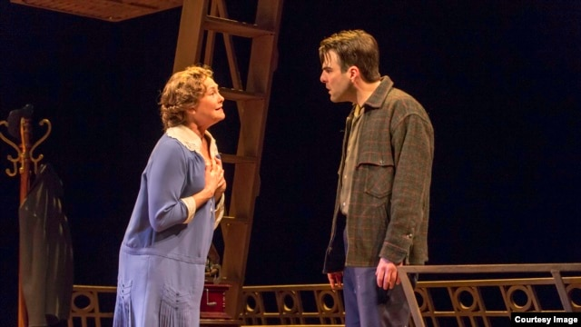 "Tony Award winner Cherry Jones and Zachary Quinto in director John Tiffany's Broadway revival of Tennessee Williams' ""The Glass Menagerie."" (Photo by Michael J. Lutch)"