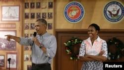 美國總統奧巴馬和第一夫人米歇爾(資料照片)