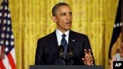 15일 백악관에서 연설 중인 바락 오바마 미국 대통령. (자료사진)