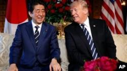 川普總統2018年4月17號在馬阿拉歌莊園會晤日本首相安倍