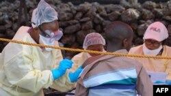Mosali ya bokolongono azali kopesa mangwele ya Ebola na elenge mobali na Goma. Nord-Kivu, 1 août 2019.