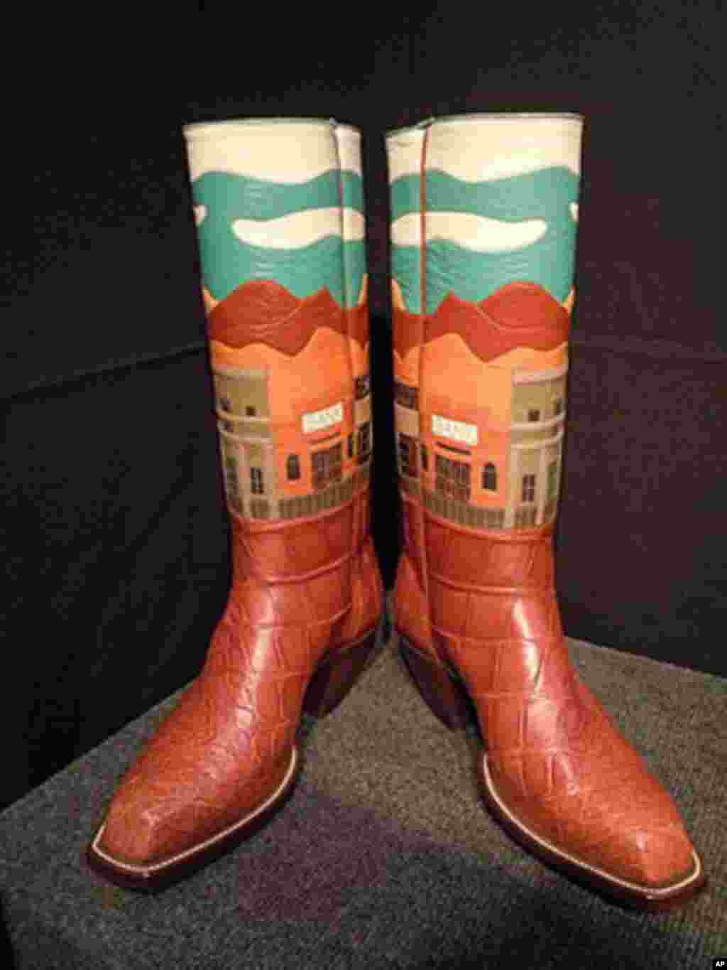 Leather cowboy boots such as these are custom designed by Lisa Sorrell of Guthrie, Oklahoma.