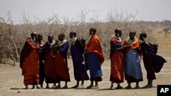 FILE - Maasai tribeswomen gather at a village on the outskirts of the Serengeti, in northern Tanzania, Aug. 12, 2013. Commercial deals in agribusiness, tourism and mining have displaced thousands of people in Tanzania and Mozambique over the last decade, according to the World Resources Institute.