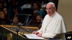 教宗方济各在联合国大会上发表演说