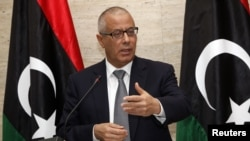 Libya's Prime Minister Ali Zeidan speaks during a news conference in Tripoli, Mar. 8, 2014.