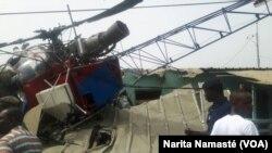 un hélicoptère s'est écrasé au alentours de l'aéroport Félix Houphouet Boigny, en Côte d'Ivoire, le 14 décembre 2017. (VOA/Narita Namasté)