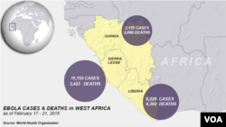 Ebola outbreaks, deaths in Africa, as of Feb. 17 - 21, 2015