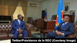 Le Premier ministre de la République démocratique du Congo, Sylvestre Ilunga Ilunkamba, reçu par le président Félix Tshisekedi à Kinshasa, le mai 2019. (Twitter/Présidence de la RDC)