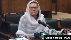 معراج ہمایوں، رکن پاکستان تحریک انصاف پرلیس کانفرنس میں اپنے خلاف ووٹ بیچنے کا الزام مسترد کر رہی ہیں۔ 19 اپریل 2018