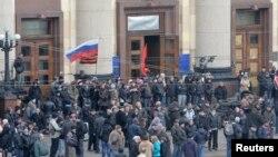 Xarkovda faollar Rossiyaga qo'shilishni talab qilmoqda, Ukraina, 7-aprel, 2014-yil