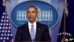 2015年4月23日,美国总统奥巴马在白宫记者招待会上讲话。
