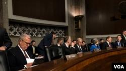 参议院军委会共和党人克雷默(左一)出席听证会(美国之音黎堡2019年4月11日)